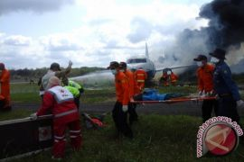 Penanganan Kebakaran Pesawat di Bandara Sampit