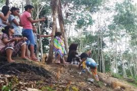 Sarana telekomunikasi terbatas, warga pedalaman Kotim antre nelpon di bukit