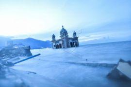Suasana Masjid Apung Pasca Gempa Palu
