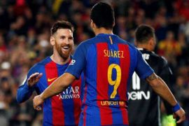 Messi gemilang, Suarez cetak trigol