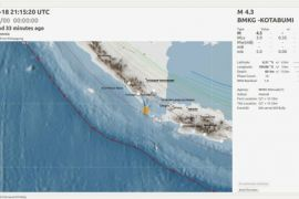 Gempa 4,3 SR di Pesawaran Lampung