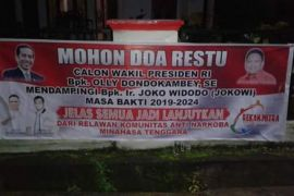 Spanduk dukungan Gubernur Sulut Olly Dondokambey sebagai Cawapres Jokowi
