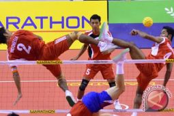 Uji pertandingan takraw Asian Games di Palembang