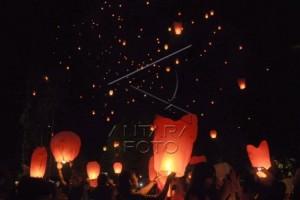 Ribuan lampion sambut pergantian Tahun di Borobudur