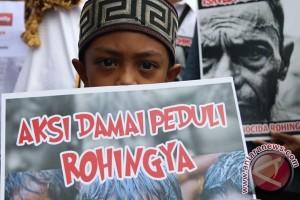 Peserta Aksi Bela Rohingya Bawa Kardus Galang Dana