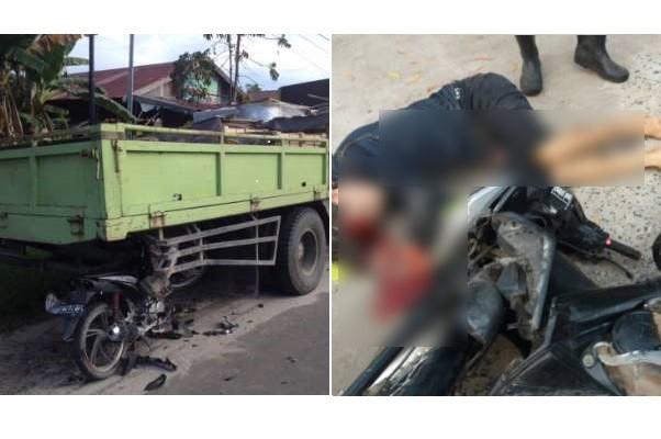 Dua Pengendara Motor Terkapar Akibat Tabrak Truk