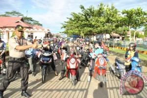 Polres Bartim Ajak Ratusan Pengendara Konvoi Merah Putih