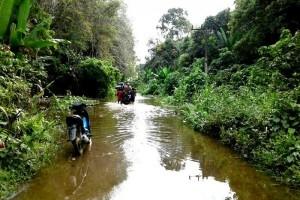 Duh! Desa di Gunung Timang Masih Terendam Banjir