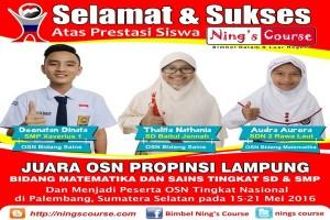 Siswa Bimbingan Ning's Course Juarai Olimpiade Sains Lampung