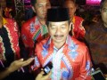 Wali Kota Bandarlampung Herman HN memberikan keterangan kepada wartawan usai nonton Festival Budaya di Tugu Adipura Bandrlampung Selasa, (16/5) 9FOTO: ANTARA Lampung/Roy Baskara Pratama