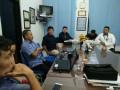 Sales Area Head, Lampung PT Perusahaan Gas Negara, Wendi Purwanto dan rekannya melakukan kunjungan ke LKBN ANTARA Biro Lampung, Kamis (10/8). (ANTARA Lampung/triono subagyo)