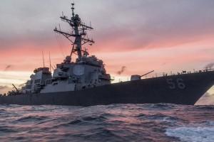 Kapal perang AS tabrakan dengan kapal dagang, 10 awak kapal hilang