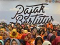 Ratusan mahasiswa dari berbagai perguruan tinggi se- Makassar mengikuti kuliah umum Sadar Pajak Bertutur melalui \