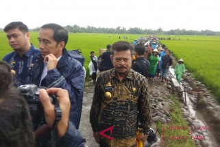 Presiden Jokowi tinjau program padat karya