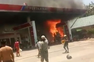 SPBU Polman terbakar satu warga terluka bakar