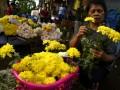 Seorang perempuan menyortir bunga Krisan di perkebunan bunga di Tomohon, Sulawesi Utara, Minggu (6/8). Beragam warna bunga Krisan (Chrysanthymum morifolium) tersebut dijual seharga Rp 2.500 hingga Rp 3.500 per tangkai, dan telah dipasarkan ke sejumlah daerah seperti Maluku, Papua dan Batam. ANTARA FOTO/Adwit B Pramono/17.