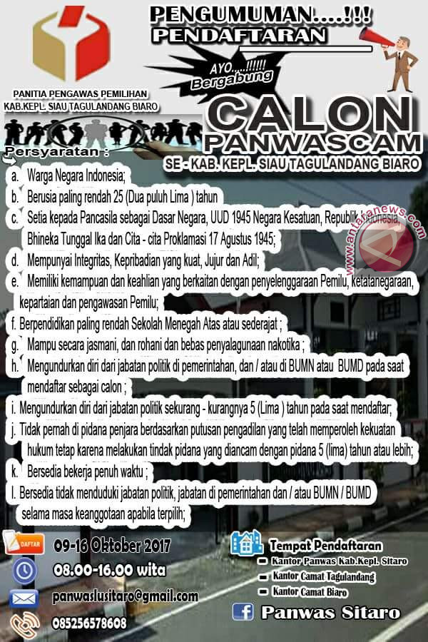 Panwaslu Sitaro Buka Pendaftaran Panwas Kecamatan