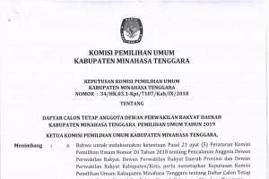 Pengumuman DCT DPRD Kabupaten Dapil Minahasa Tenggara