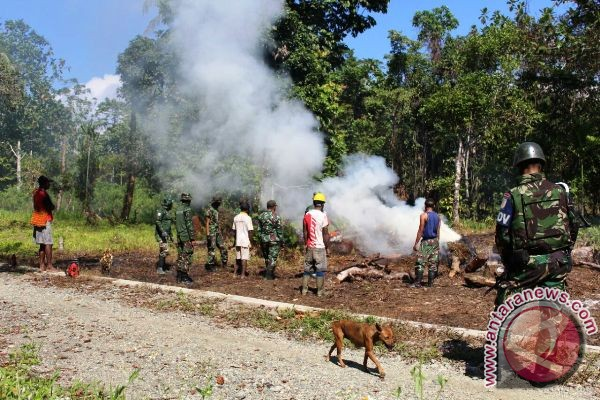 Satgas Pamtas bantu masyarakat buka lahan pertanian