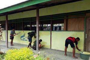 Satgas Pamtas RI-PNG renovasi gedung paud Yagama Arso