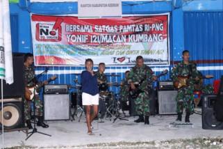 Yonif 121/MK gelar pentas musik di perbatasan RI-PNG