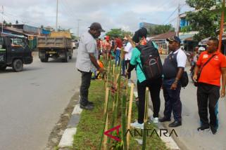 Pegawai Pemkab Mimika tanam bunga di median jalan