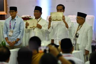 Jokowi-Ma'ruf nomor urut 01 Prabowo-Sandiaga 02
