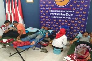 Ratusan Kader Nasdem Tolitoli Ikuti Donor Darah