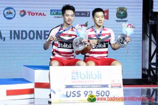 Kevin/Marcus meraih gelar pertama Indonesia Terbuka 2018