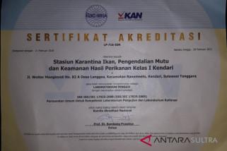 Laboratorium BKIPM Kendari raih sertifikat akreditasi