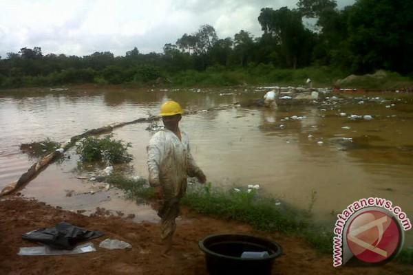 Tumpahan minyak kotori kali donan Cilacap