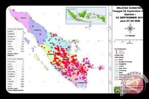 Satelit deteksi 10 titik panas Sumatera