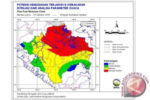 Belasan titik panas terdeteksi di wilayah Sumsel