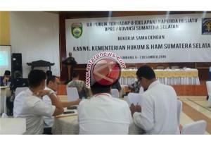 DPRD Sumsel gelar uji publik delapan Raperda inisiatif