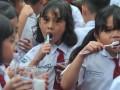 Sejumlah siswa menyikat gigi bersama di halaman Perguruan Institut Bahasa Asing (IBA) Palembang, Sumsel, Senin (20/3). Sebanyak 1000 siswa sekolah dasar dan taman kanak-kanak di Palembang mengikuti rangkaian kegiatan peduli gigi sehat yang digagas Persatuan Dokter Gigi Indonesia (PDGI) Palembang dalam rangka memperingati Hari Kesehatan Gigi Sedunia. (Antarasumsel.com/Feny Selly/Ag/17)