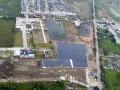 Foto udara pembangunan depo (stasiun) kereta api ringan / LRT (Light Rail Transit) di kawasan Jakabaring, Palembang, Sumatera Selatan, Sabtu (25/3). Pengerjaan depo di atas lahan rawa-rawa yang mengandung air tersebut masih dalam tahap penimbunan lahan yang menggunakan metode (teknologi) vacuum. (Antarasumsel.com/Nova Wahyudi/dol/17)