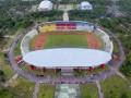 Foto aerial stadion Gelora Sriwijaya Jakabaring (GSJ) yang berada di kompleks olahraga Jakabaring Sport City (JSC) Palembang, Sumatera Selatan, Jumat (30/6). Pemerintah Provinsi Sumatera Selatan mulai melakukan renovasi bagian dalam stadion Gelora Sriwijaya Jakabaring (GSJ) yang akan digunakan pelaksanaan Asian Games 2018 dan ditargetkan selesai akhir tahun 2017. (Antarasumsel.com/Nova Wahyudi/dol/17)