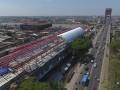 Foto udara pembangunan Light Rail Transit (LRT) di Zona Ampera pembangunan LRT Palembang, Sumatera Selatan, Kamis (27/7). Perkembangan pengerjaan LRT/Kereta Ringan sepanjang 23,4 km dari Bandara Internasional Sultan Mahmud Badaruddin II dan berujung di Jakabaring Sport City (JSC) tersebut saat ini sudah mencapai 46,68 persen dan pembangunannya terus dikebut. (Antarasumsel.com/Nova Wahyudi/dol/17)