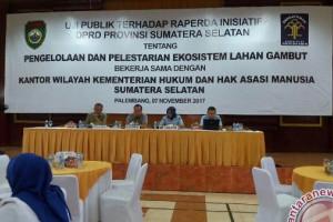 DPRD Sumsel Uji Publik Raperda Pengelolaan Lahan Gambut